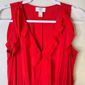 LOFT Red Ruffle Silk Dress